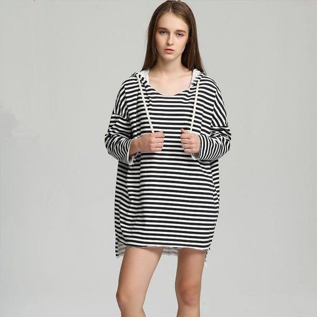 women dress spring autumn style hooded sweatshirt 2016 long sleeve pink blue black blue striped loose dresses fashion clothing