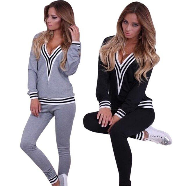 Spring New Casual Women 2 Pieces Sets Tops Sweatshirt Pants Track Sweat Tracksuit Suits