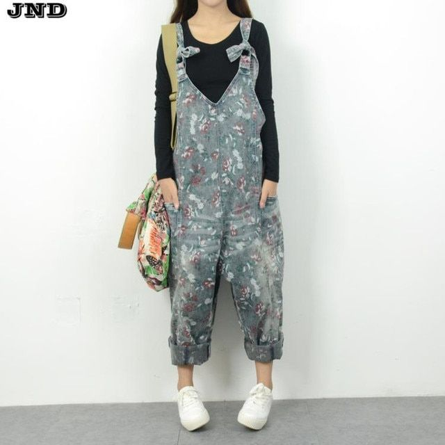 Free Shipping 2016 New Fashion Ladies Overalls Harem Pants Flower Printed Denim Jeans Loose Jumpsuits And Rompers Plus Size M-L