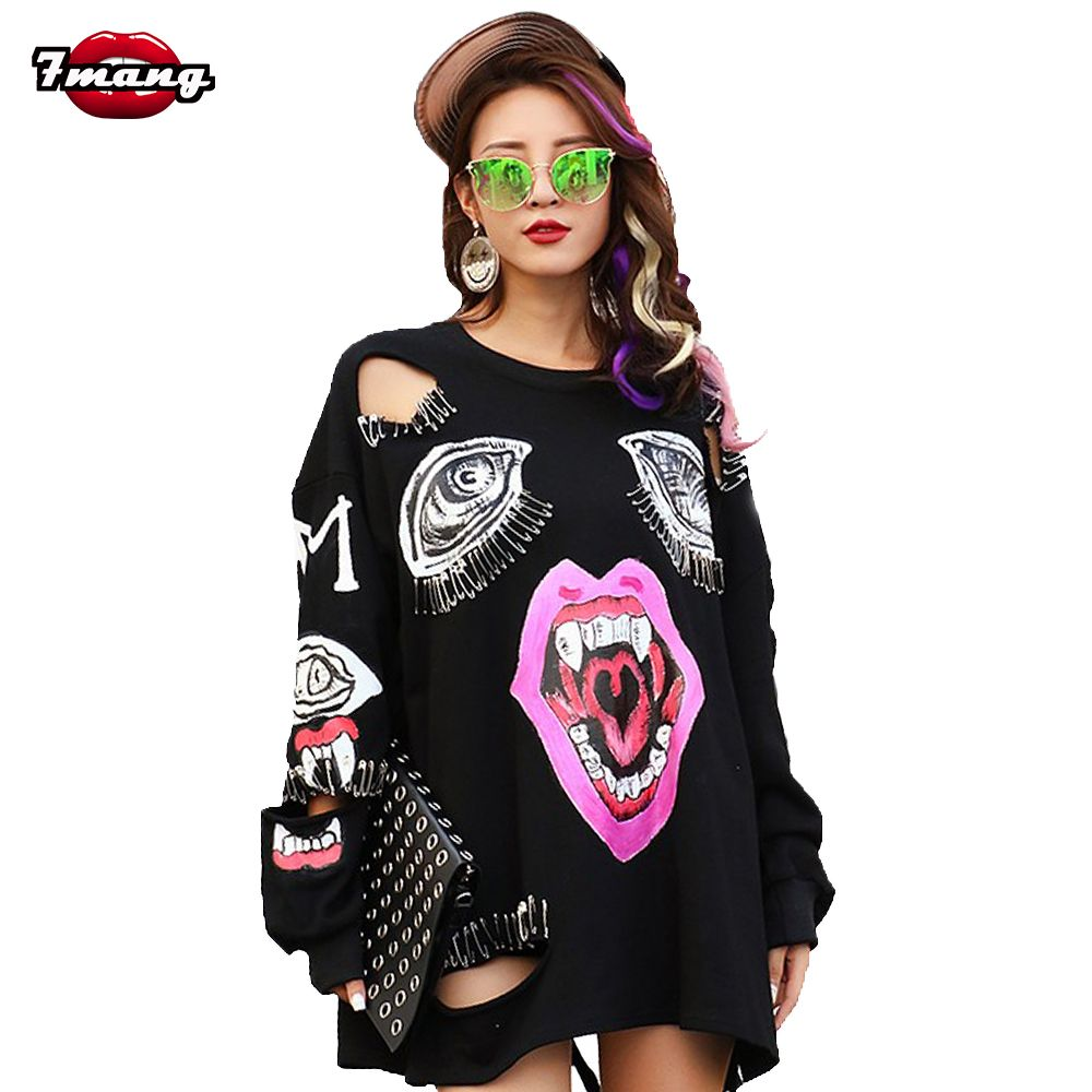 7mang 2018 new autumn women fashion punk black cartoon mouth printing hole sweatshirts o neck long sleeve street clip pullover