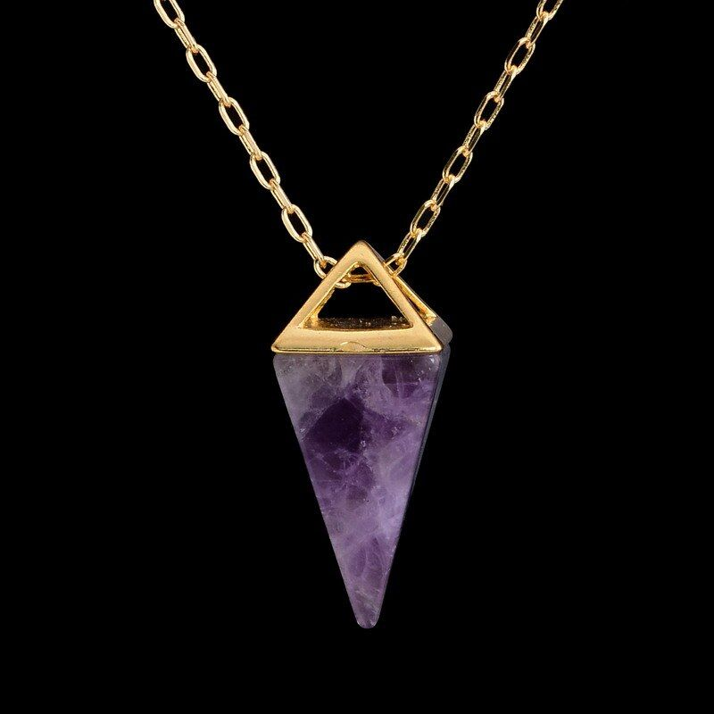 Handmade Healing Crystal Necklace Real  Pyramid Necklace Marble Howlite Pendulum Amulet Golden Opal Gem Stone Necklace