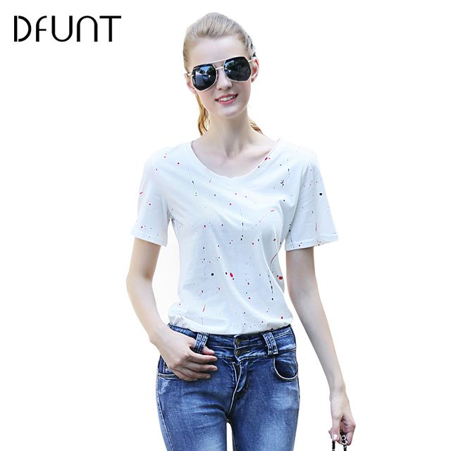 DFUNT Polka Dot Womens T-Shirt O-Neck 3 Kinds Color Broadcloth Camisetas Mujer Street Style Casual Female Tees Plus Size S-XL