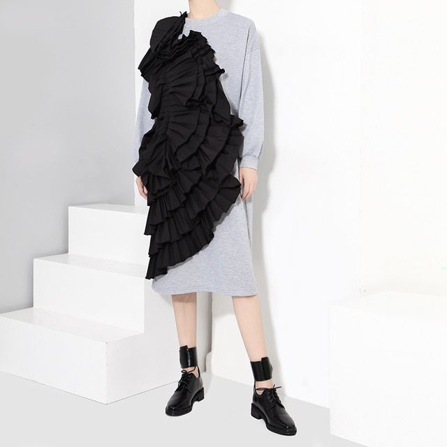 [TWOTWINSTYLE] 2016 Autumn Pleated Ruffles Patchwork Long Sleeves Dress Women New Clothing Fashion