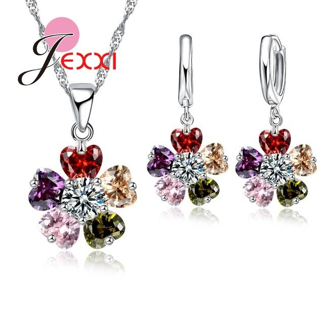 JEXXI Romantic Heart Cubic Zircon Crystal Wedding Jewelry Sets For Bride Fashion Pendant Necklace Hoop Earring Sets For Woman