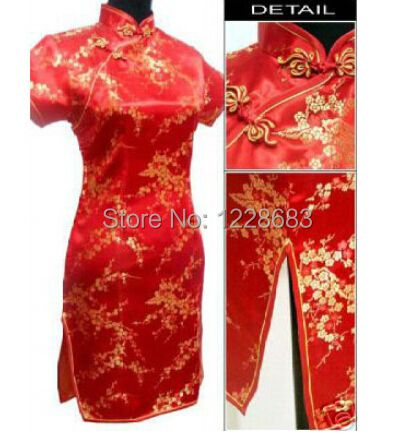 Red Wedding Cheongsam Dress Chinese Traditional Cheongsam Qipao Plus Size S-6XL Free Shipping
