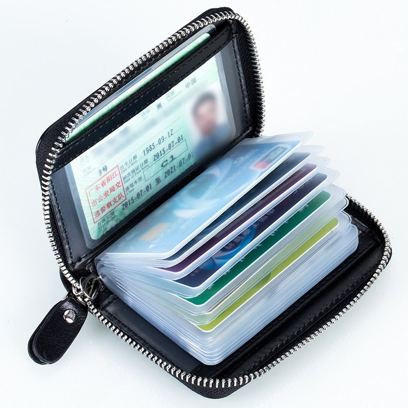 Genuine Leather Unisex RFID Brand NEW 2017 Fashion OL Zipper Card Holder Driving License Change purse Bag Large Capacity ID Card