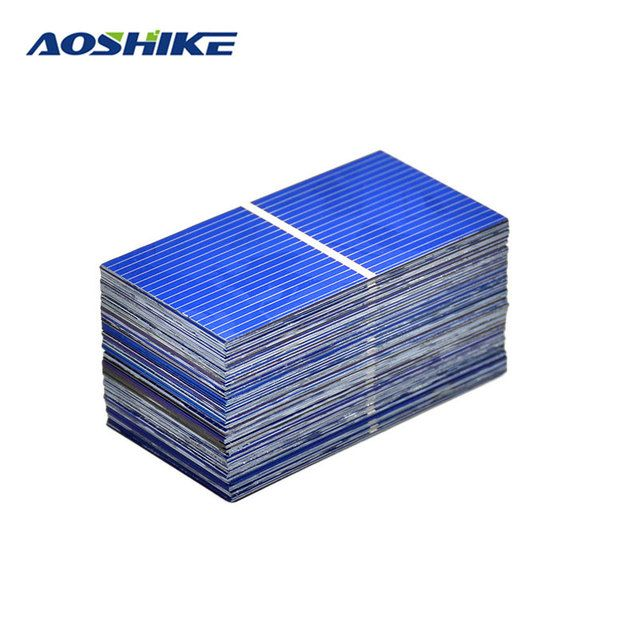 Aoshike 100Pc Solar Panel Sun Cell Sunpower Solar Cell Polycrystalline Photovoltaic DIY Solar Battery Charger 0.5V 0.2W 52*26mm