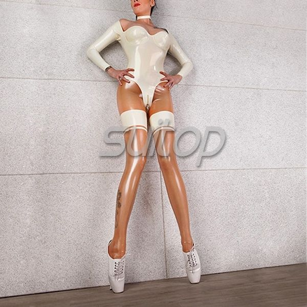 Women 's latex Capri catsuit tight in natural clear and white