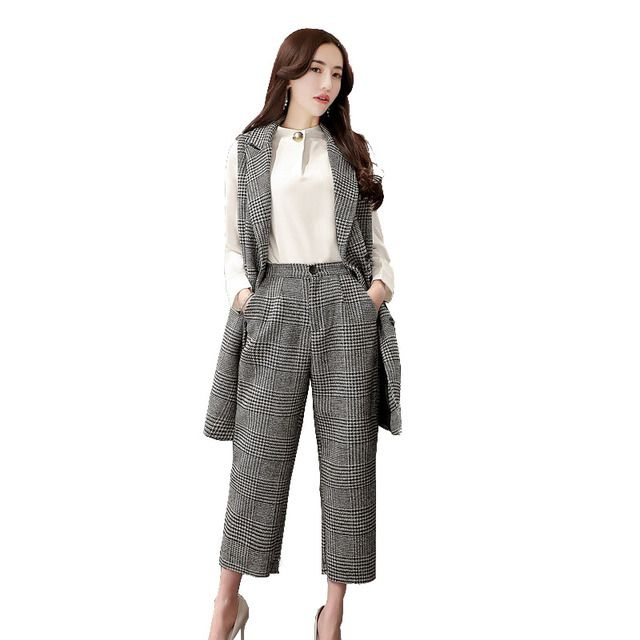 HMCHIME autumn fashion leisure women sets turn down collar loose sleeveless vest +wide leg pants two pieces woman suits HM534