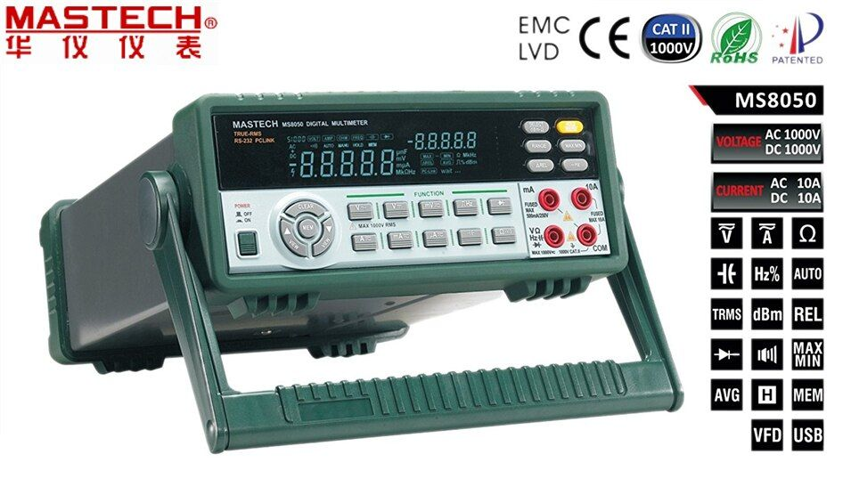 FREE SHIPPING MASTECH MS8050 Digital Multimeter 53K Counts High Accurayc Bench/True RMS