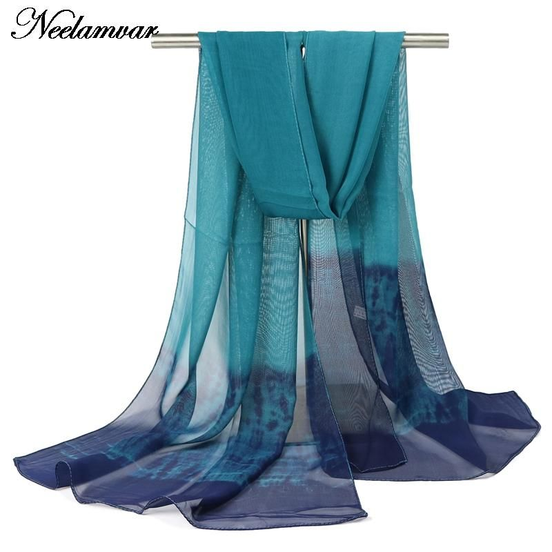 Neelamvar fashion scarf women silk chiffon shawl gradient colors thin long soft shawls and printing scarves Autumn and Winter