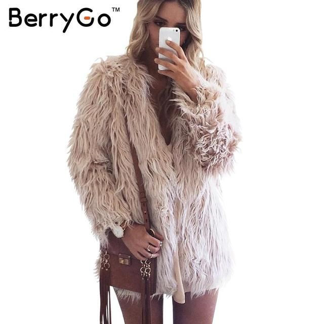 BerryGo Fluffy faux fur coat women 2016 warm chic female outerwear Black elegant autumn winter jacket coat hairy party overcoat