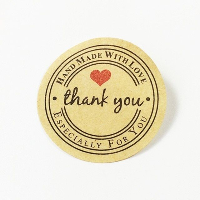"100 Pcs ""Thank you"" Round Kraft Paper Seal Stickers For Handmade Product DIY ""Handmade With Love"" Self-adhesive Packaging Lable"