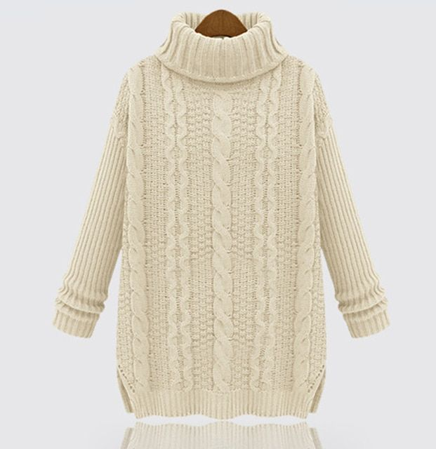 4 Color New Fashion Winter Knitted Long Warm  Thickening Vintage Sweater With Neck Women Sweater Casual Turtleneck Pullover 13