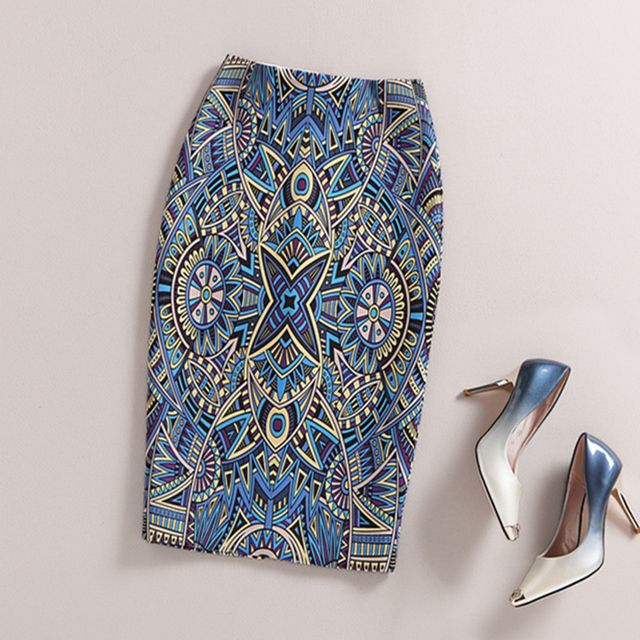 Autumn Ladies Elegant Baroque Style Geometric Pattern Print High Waist Tight Pencil Skirt Wear To Work  Office Lady Wear Bottom