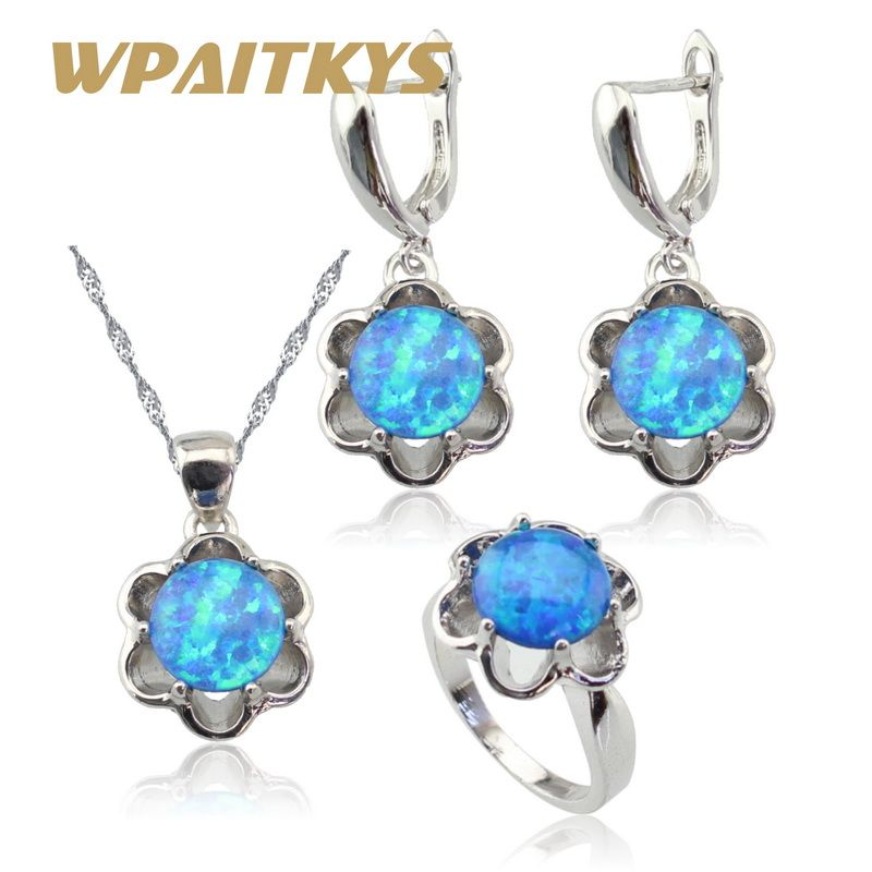 Flower Blue Opal Silver Color Bridal Jewelry Sets For Women Necklace Pendant Drop Earrings Rings Christmas Free Gift Box