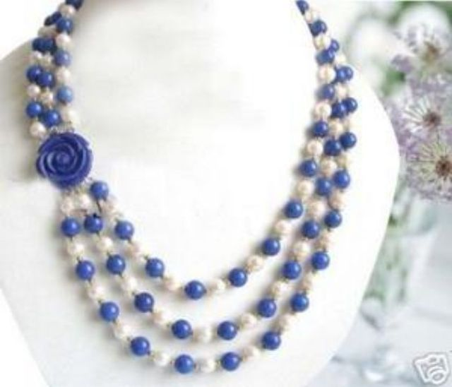 10X10  jewerly free shipping  Wonderful!7-8MM White Akoya Pearl Lapis lazuli Necklace