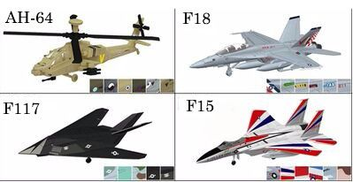 4PCS/Set 4D Plastic Assembled Airplane 1:144 Modern Aircraft F18 F14 F117 Apache Puzzle Assembling Military Fighter Toys