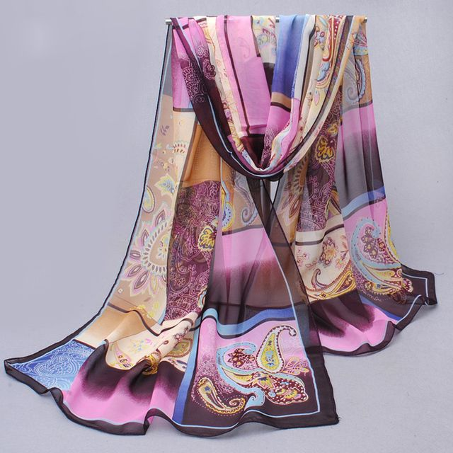 Chiffon silk scarf 2018 scarf female summer and autumn all-match scarf long Polyester air conditioning cape silk scarves shawl