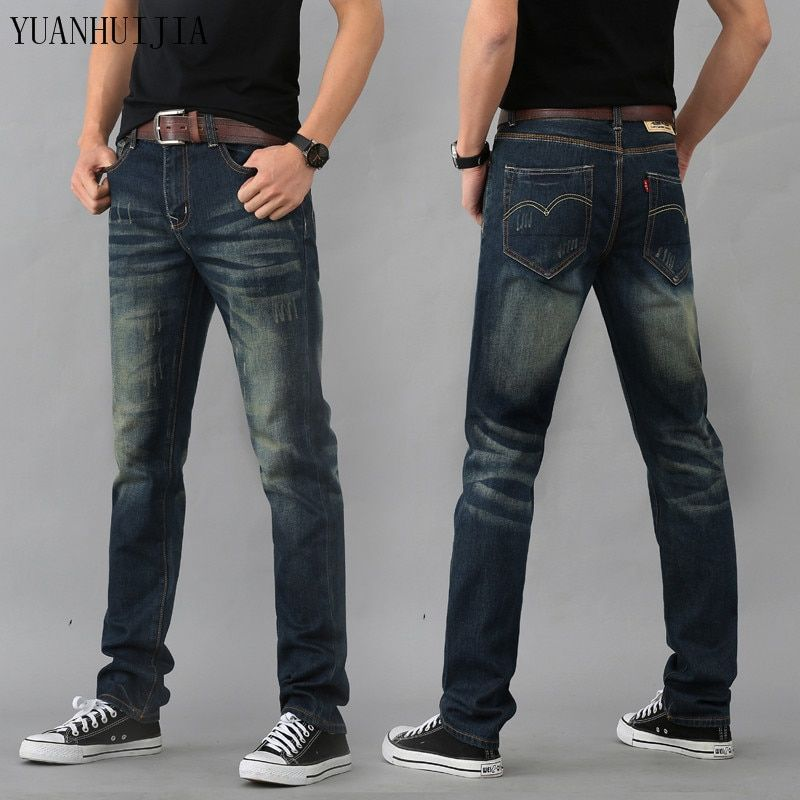 2016 High Quality Mens Jeans Blue Color Printed Jeans For Men Ripped Button Jeans Casual Pants Quality Cotton Denim Jeans