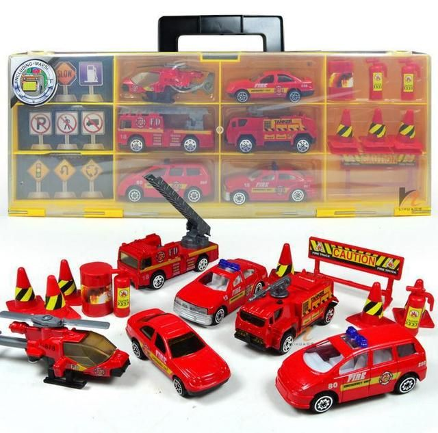 Free shipping !Alloy Fire portable combination storage box collection box 20 sets of toy cars Fire Toy