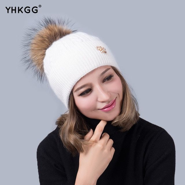 Apparel Accessories Winter Red Removable Fox Bobble Hat For Women Warm Knitted Beanies With Fur Pom Poms.Wool Fur hat