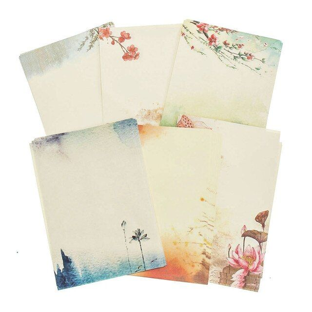 Kicute 8 Sheets Unique Chinese Flower Ancient Retro Pattern Letter Pad Writing Paper Stationery Gifts Office School Supplies