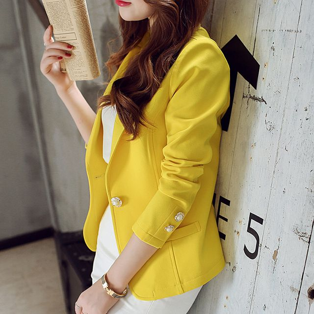 Spring Autumn women blazer New fashion Women's basic Jackets Ladies jacket coat Female Suit Blazers Color Black Yellow Green