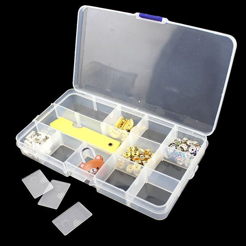 Free shipping jewelry Adjustable Plastic 15 slots Compartment Storage Box Jewelry Earring Bin Case Container
