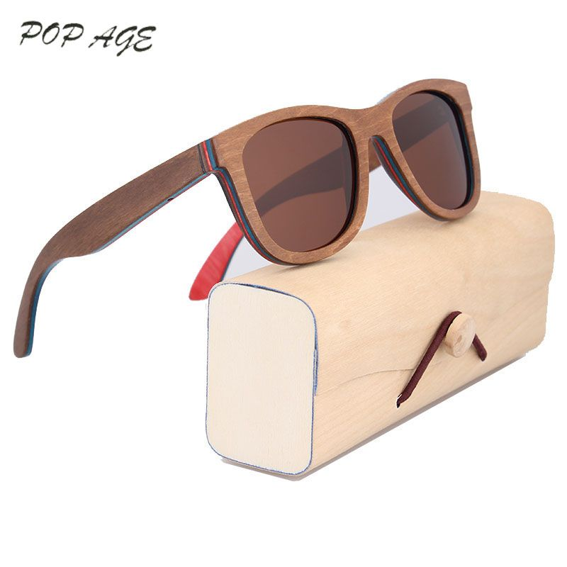 Brown Skateboard Wood Sunglasses Women Retro Sunglasses Men Luxury Brand Polarized Vintage Wooden Glasses Brands Eyewear