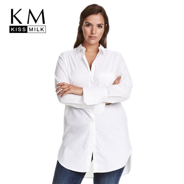 Kissmilk Women Plus Size Button Down Long Sleeves Longline Boyfriend Shirts Oversize Solid Blouses Tops for Officelady 5XL 6XL 7