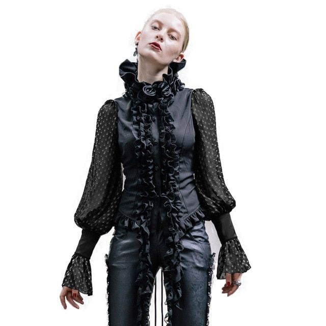 Steampunk Women Shirts Long Sleeve Chiffon Blouse 2017 Black White Gothic Fashion Roses Collar Shirt Top Femme Clothes