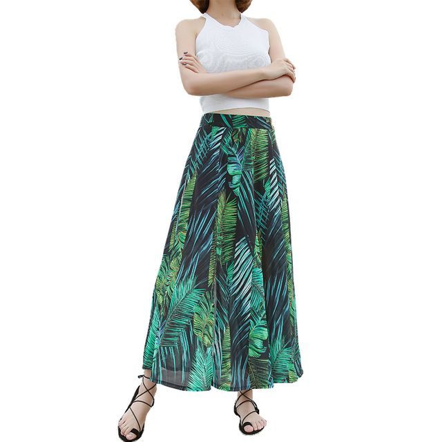 High Quality Elegant Ladies Maxi Long Skirt 2017 Summer Casual Bohemia Split Print Chiffon Beach High Waist Womens Skirts Faldas
