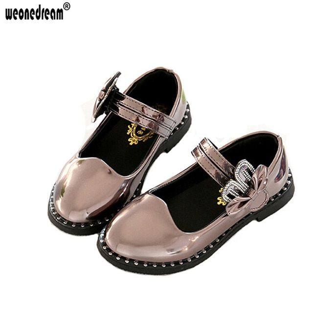 WEONEDREAM Girls Shoes New Fashion 2017 Children Kids Dress Shoes Girl Princess 3 Colors Leather Shoe Spring Autumn Size 27~37