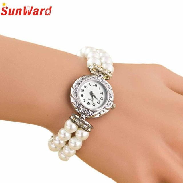 Miracle Moment 2017 Women Students Beautiful Fashion Brand New Golden Pearl Quartz Bracelet Watch