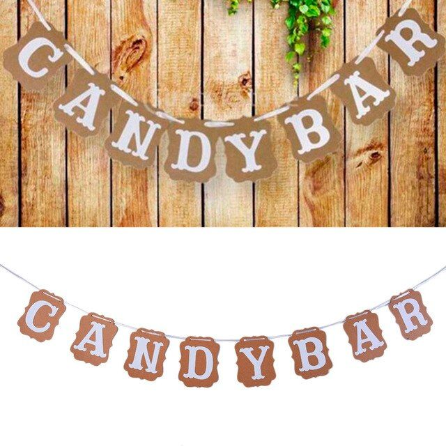 Kraft Paper Candy Bar Cardboard Bunting Banner Garland Vintage Wedding Decor Sign Baby Shower Birthday Party Buffet Decorations