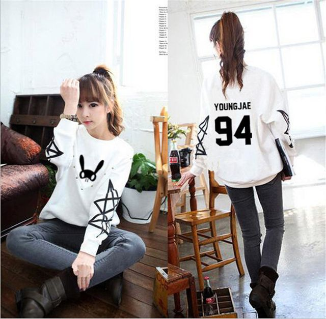 Harajuku kpop bap b.a.p bunny member name printing o neck sweatshirt for women stars printing sleeve hoodies plus size k-pop bts
