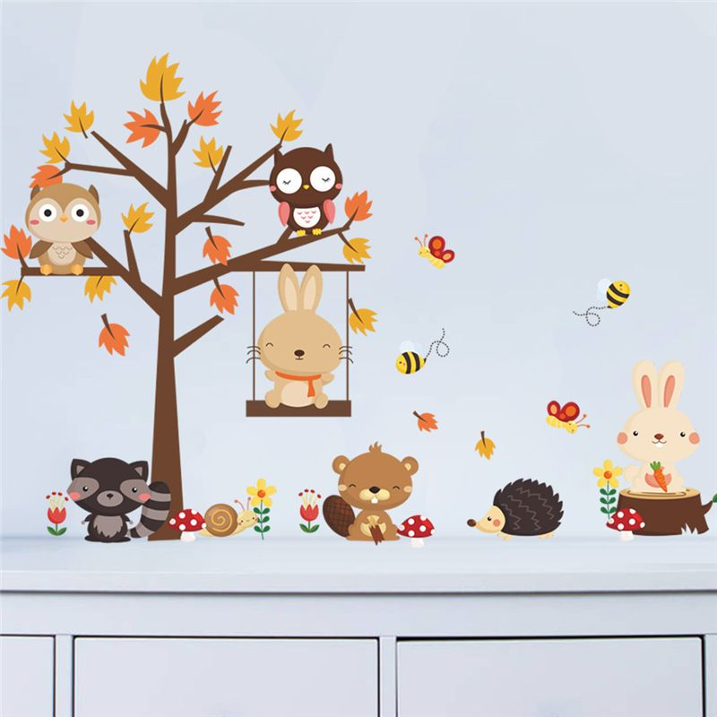 Cute Rabbit Swing Wall Stickers Owl Bear Tree Wild Animlas World For Kids Rooms Children Baby Nursery Rooms Home Decor Decor