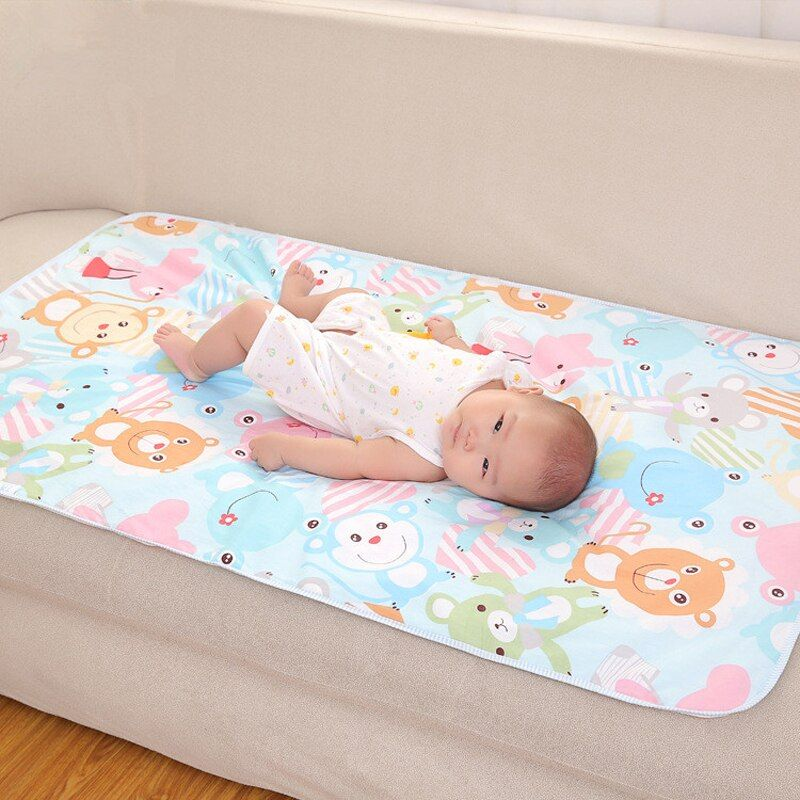 UNIKIDS Cartoon Cotton 3 Layers Baby Waterproof Mat Large Baby Mat Cover Infant Urine Pad Mattress Sheet Protector Bedding