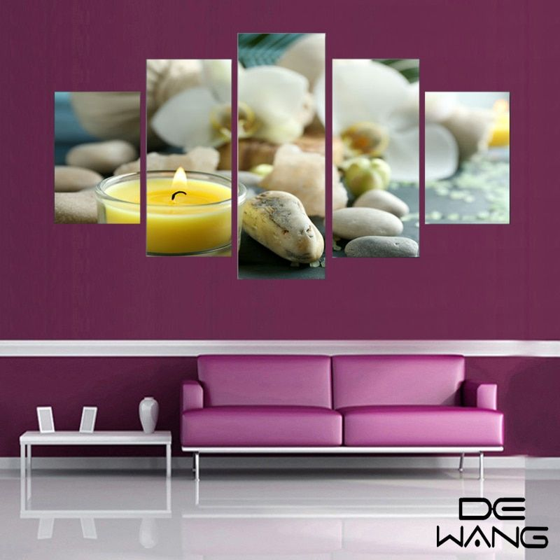 HD Unframed 5 Panels Purple Flowers Candle Canvas Painting Large HD Wall Pictures For Living Room Waterproof Modular Pictures