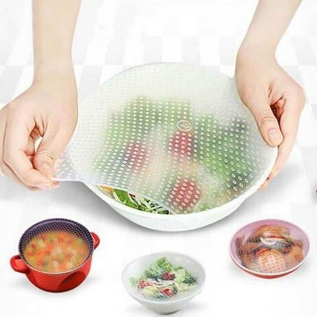Food Fresh Keep Kitchen Tools Silicone Wraps Seal Cover Stretch Cling Film