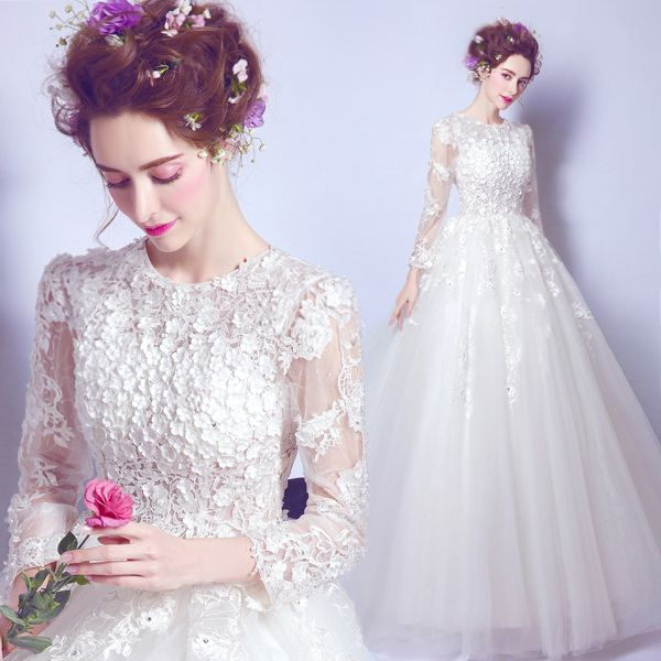 Free shipping white luxury lace flowers full sleeve fairy lady girl women princess wedding bridal banquet party dress gown