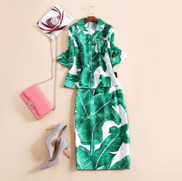 Europe and the United States 2016 Autumn New Catwalk retro banana leaf printed shirt + Half bag hip skirt suit