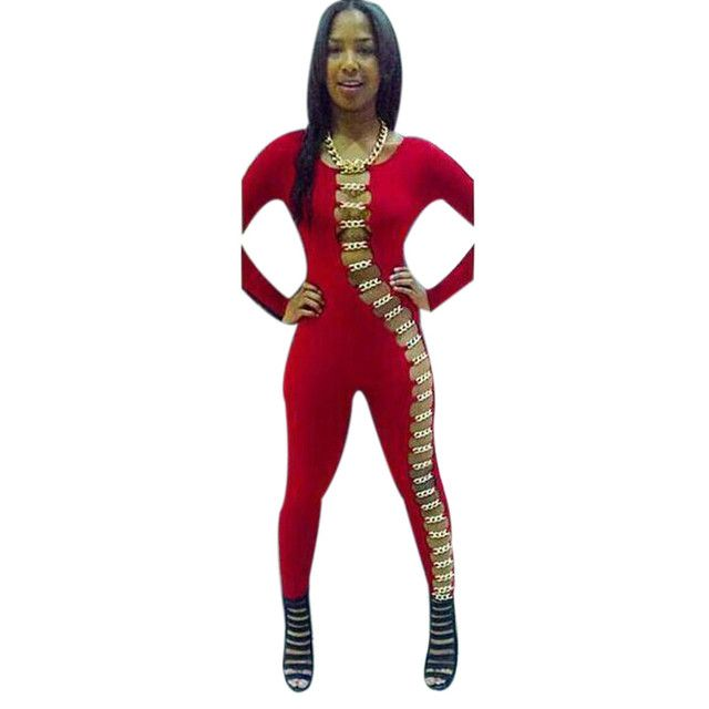 2016 Club Sexy jumpsuit Plus sizeWomen Clubwear Long Sleeve Bodycon Sexy Jumpsuit Romper Party Pants Large size pants coveralls