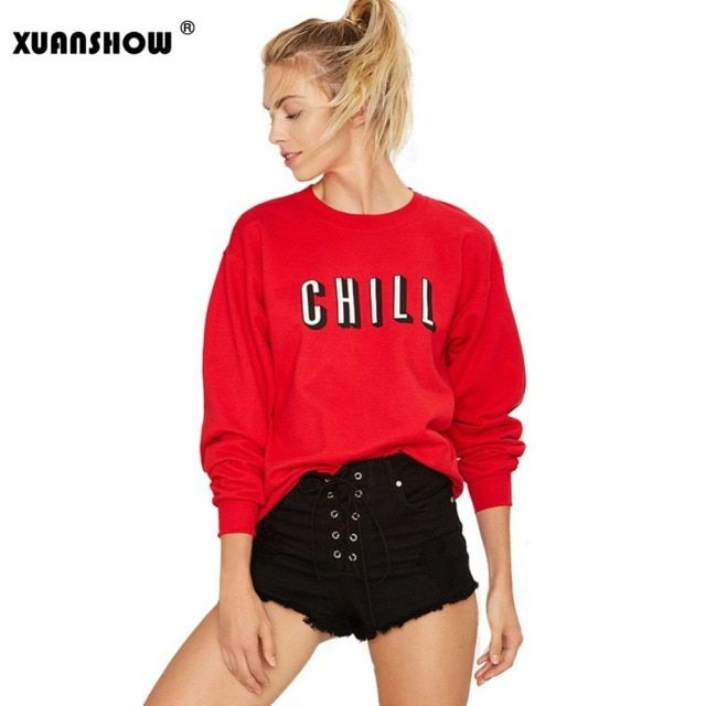 2017 Spring and Autumn Women Sweatshirts Loose Long Sleeve CHILL Letters Print Loose Pullover Sweatshirt