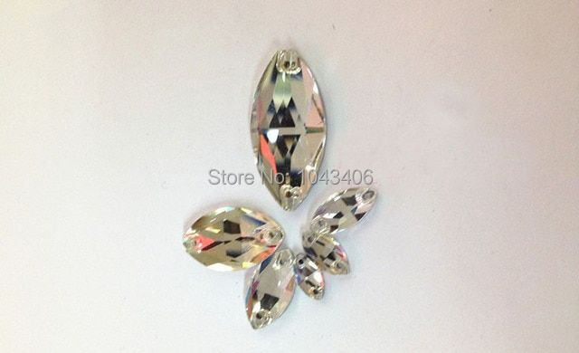 400pcs/lot Crystal Clear 6x12mm Navette Sew On Rhinestone flatback Drop water 2 holes horse eye Crystal