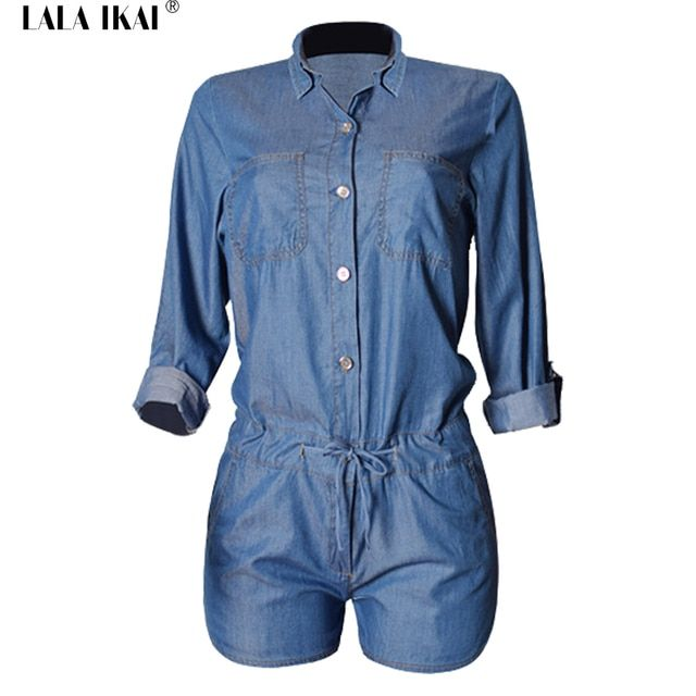 LALA IKAI Chic Denim Jumpsuit Women Long Sleeve Button Short Rompers One Piece Playsuits Fashion Fitness Jeans Overalls KWH0048