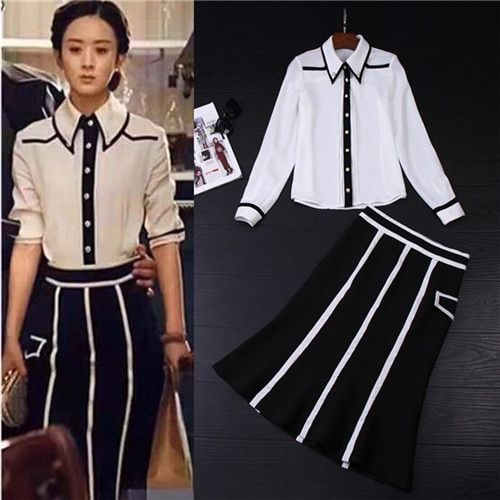 2017 Spring Runway Designer 2 Piece Set Women's White Long Sleeve Turndown Collar Blouses + A-line Skirt Suits Set Vintage