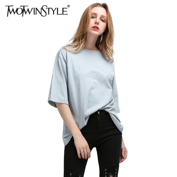 TWOTWINSTYLE Split Female T-shirt Autumn 2017 Korean Short Sleeve Tops a White Women's T Shirts Big Size Casual Fashion Clothing