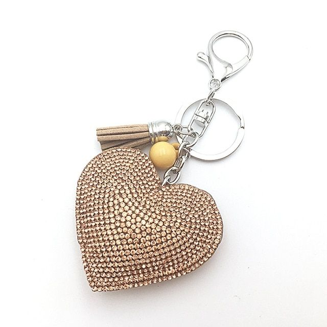 2016 Quality is the first female cute key chain ring rhinestone heart gift item 10 color Mosaic leather tassel like wholesale